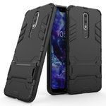 Slim Armour Tough Shockproof Case & Stand for Nokia 5.1 Plus - Black